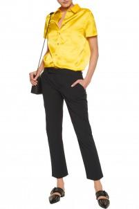 Stretch-cotton crepe slim-leg pants