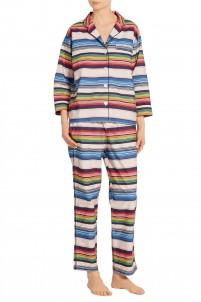Marina striped cotton-poplin pajama set