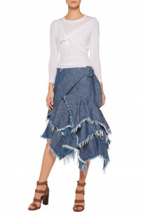 Frayed ruffled wrap denim skirt