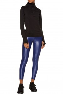 Lustrous stretch-jersey leggings