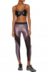 Frame mesh-paneled stretch-jersey leggings