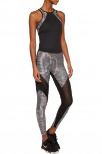 Frame mesh-paneled printed stretch-jersey leggings