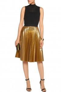 Pleated lamé skirt