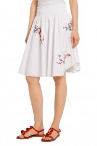 Cassie embroidered stretch-cotton poplin skirt