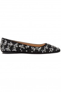 Embellished suede point-toe flats