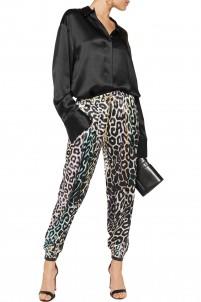 Leopard-print silk-satin track pants