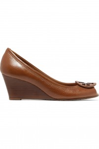Sally textured-leather wedge sandals