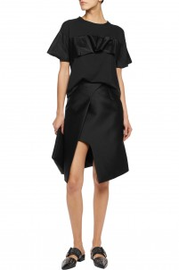 Wrap-effect twill skirt