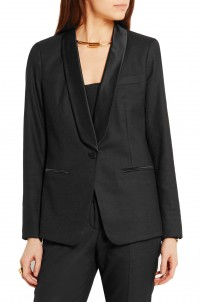Satin-trimmed stretch wool-blend tuxedo jacket