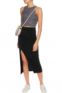 Ann ruched stretch-crepe midi skirt