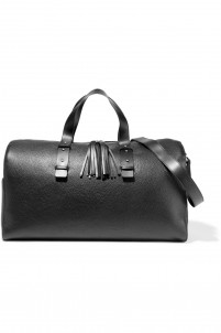 Textured-leather weekend bag