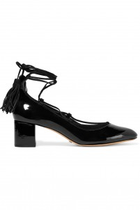 Ariana suede-trimmed patent-leather pumps