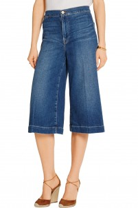 Le Culotte cropped high-rise wide-leg culottes