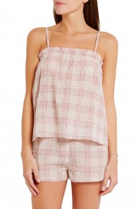 Billy plaid stretch-cotton gauze pajama top