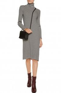 Striped cotton rib-knit turtleneck midi dress