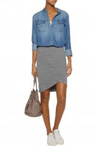Wrap-effect stretch-jersey skirt