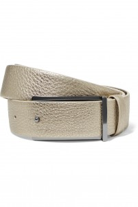 Metallic textured-leather belt