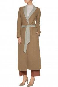 Belted two-tone felt coat