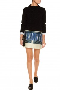 Mikado printed silk and cotton-blend mini skirt