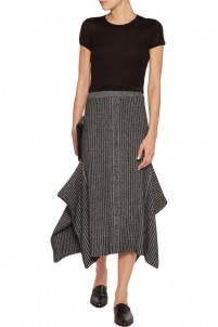 Asymmetric metallic ribbed-knit midi skirt