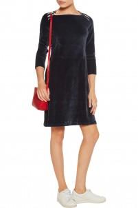 Striped cotton and modal-blend trimmed velvet dress