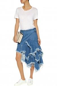 Belted frayed denim wrap skirt
