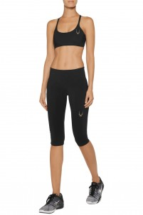 Cropped mesh-paneled stretch-jersey leggings