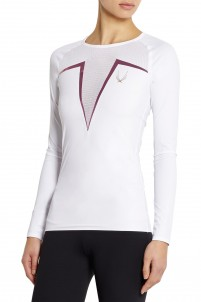 Fleet mesh-paneled stretch rash guard
