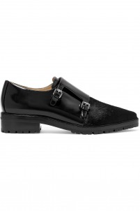 Judd calf hair-paneled glossed-leather brogues