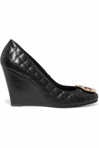 Quinn quilted-leather wedge pumps