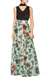 Pleated printed silk-chiffon and linen maxi skirt