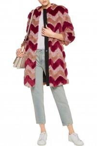 Faux fur and bouclé coat