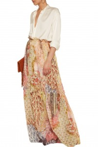 Printed cotton and silk-blend maxi skirt