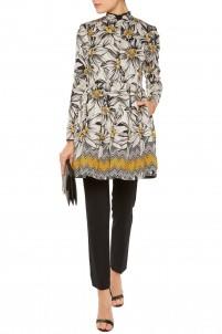 Sacha pleated cotton-blend jacquard coat