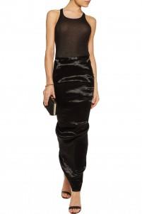 Stretch-shell maxi skirt