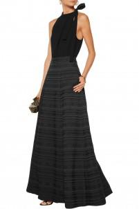 Lexia pleated jacquard maxi skirt