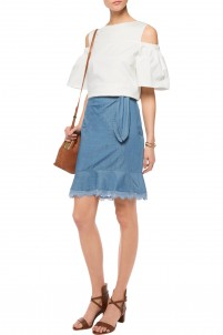 Lace-trimmed denim skirt