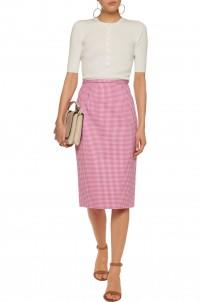 Gingham stretch-cotton midi skirt