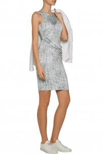 Mariposa draped printed stretch-modal dress