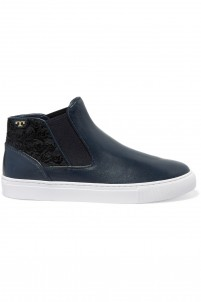 Rosette appliquéd leather high-top sneakers