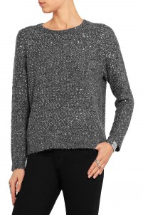 Sequined textured-knit sweater