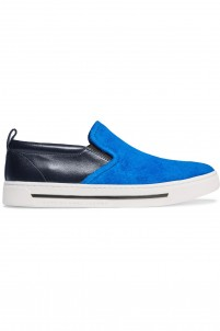 Leather and suede slip-on sneakers