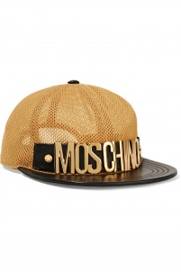 Leather-trimmed mesh cap