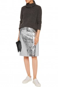 Metallic cracked-leather pencil skirt
