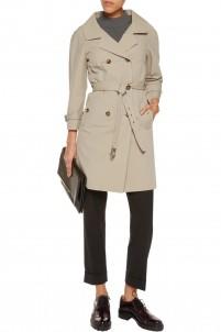 Crinkled cotton-blend trench coat