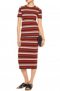 Striped ribbed cotton-blend midi skirt