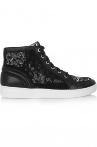 Philippa lace and leather high-top sneakers