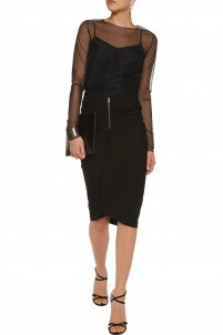 Ruched stretch-jersey skirt
