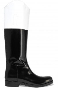 Two-tone leather knee boots