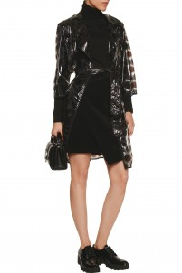 Belted printed PVC trench coat